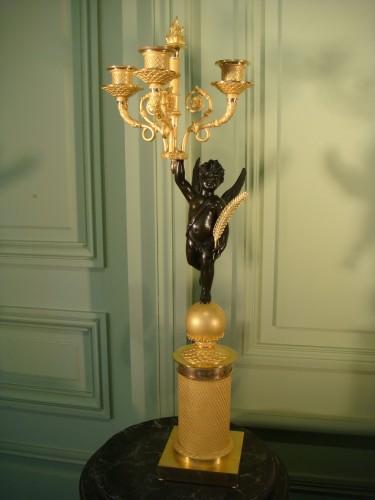 Lighting  - Pair of winged angel candelabras - Restoration Period