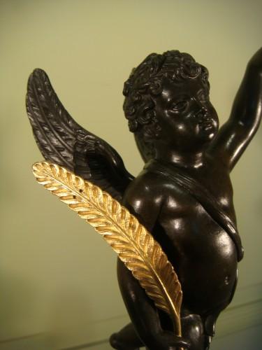 Antiquités - Pair of winged angel candelabras - Restoration Period