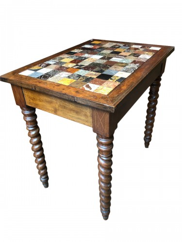 Italian table with specimen marble top