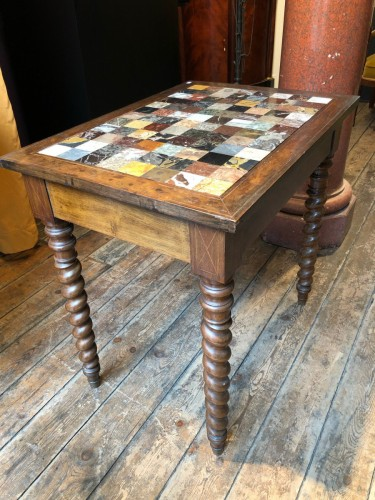 Restauration - Charles X - Italian table with specimen marble top