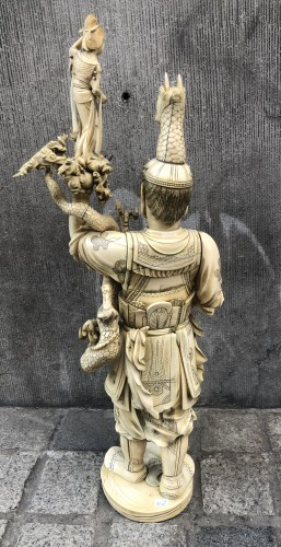 Asian Works of Art  - An exceptionally large Japanese okimono of a warlord