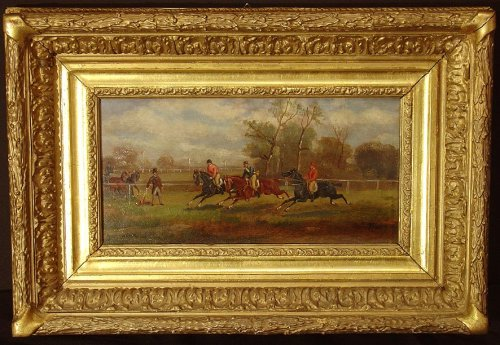 Pair of 19th century painting, england, horse's racing - Paintings & Drawings Style