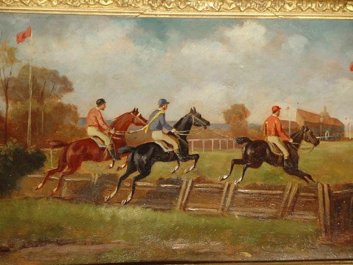 Pair of 19th century painting, england, horse's racing -