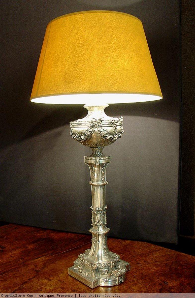 grande lampe napoleon iii en bronze argent xixe si cle. Black Bedroom Furniture Sets. Home Design Ideas