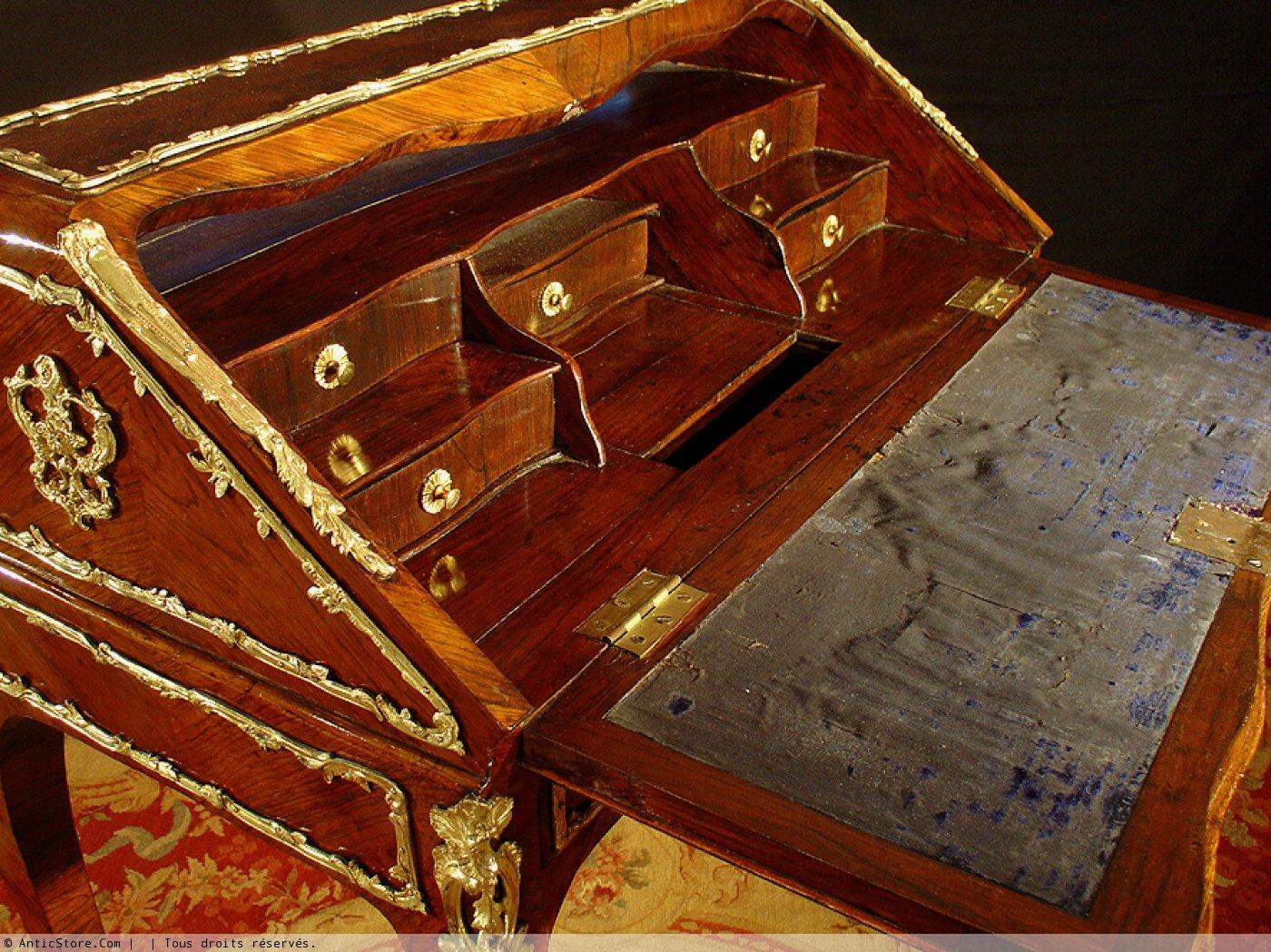 bureau de pente xviiie louis xv paris anticstore antiquit s 18 me si cle r. Black Bedroom Furniture Sets. Home Design Ideas