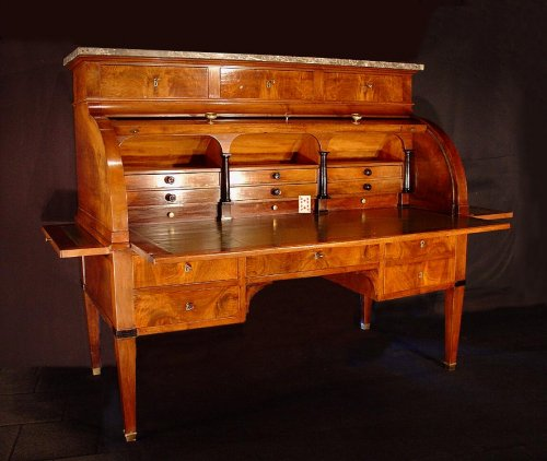 Very large and rare end of 18th directoire cylinder desk