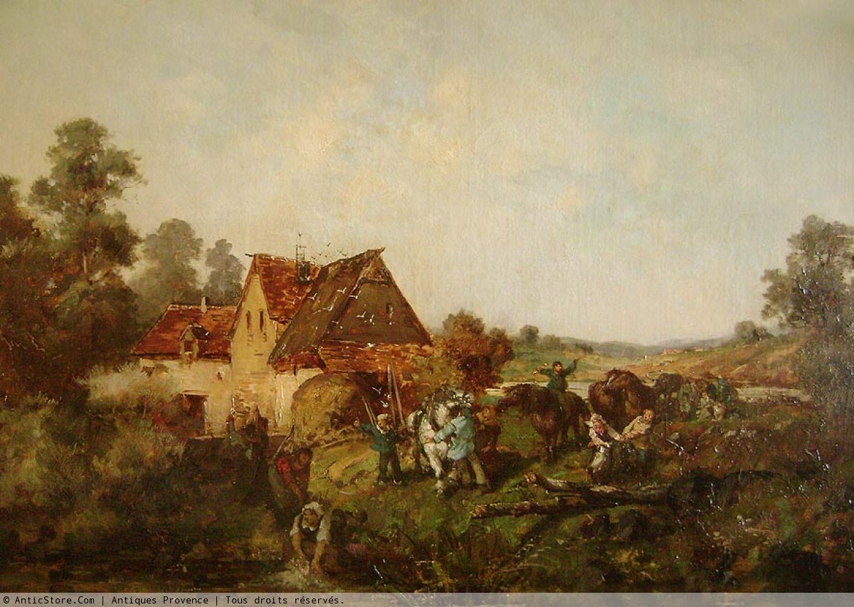 19th Century French Painting Animated Lanscape Ref 39474