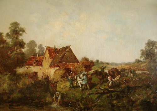 19th century french painting , animated lanscape