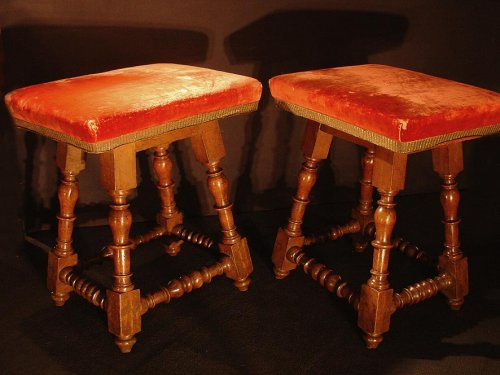 Pair of French 17th Stools