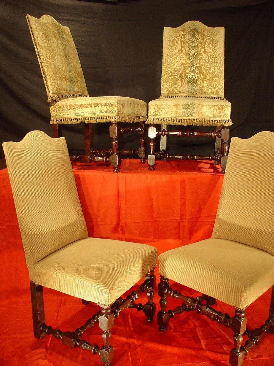 quatre chaises louis xiv xviie si cle. Black Bedroom Furniture Sets. Home Design Ideas