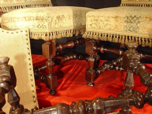 Four 17th century Louis XIV Chairs -