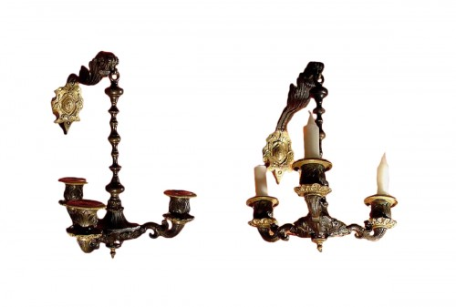 Pair of early 19th century bronze sconces