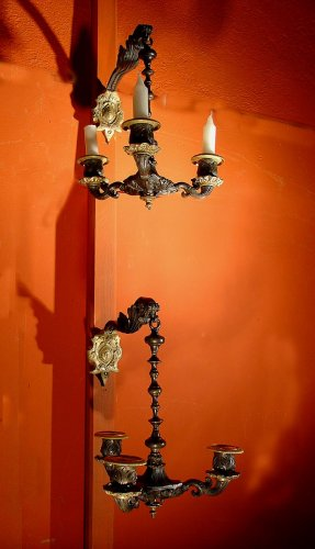 Pair of early 19th century bronze sconces - Lighting Style Restauration - Charles X