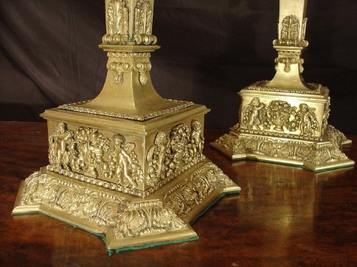 Pair of 19th century large Candles  -