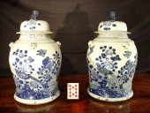 Pair of 19th C. China covered Vases