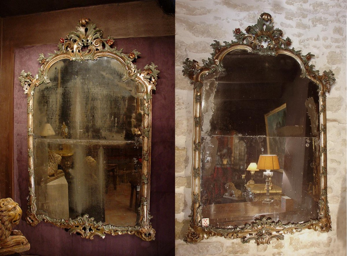Paire de grands miroirs v nitiens du xviiie si cle for Miroir xviii