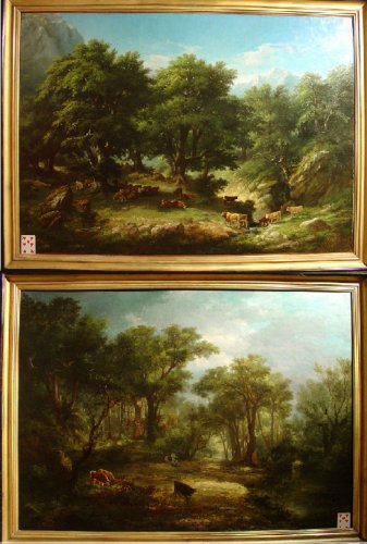 Pair of 19th C.Romantic French Painting Signed A. Pélégry
