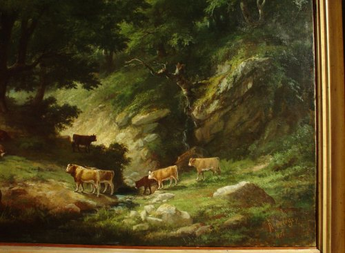 Pair of 19th C.Romantic French Painting Signed A. Pélégry - Napoléon III