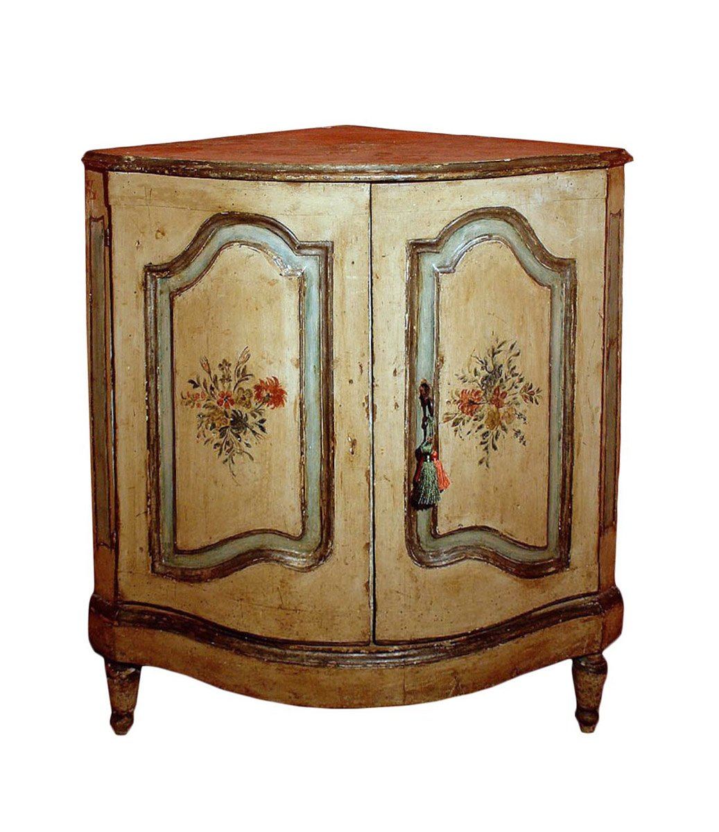 18th Century Painted Corner Cabinet From Italy