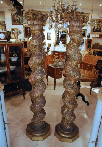 Pair of late 17th century wooden columns