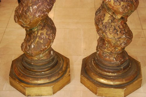 Pair of late 17th century wooden columns - Decorative Objects Style Louis XIV
