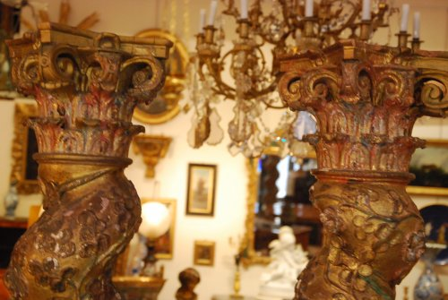 Pair of late 17th century wooden columns -