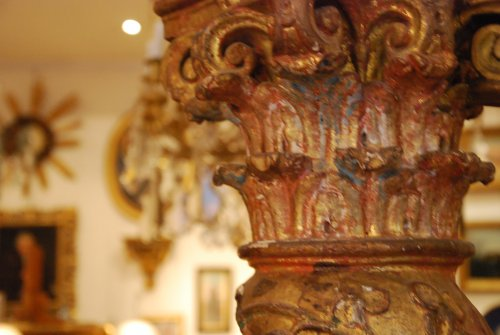 Pair of late 17th century wooden columns - Louis XIV