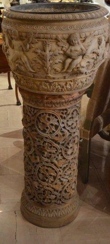 Jardini re ancienne cache pot ancien antiquit s for Vasque ancienne en porcelaine