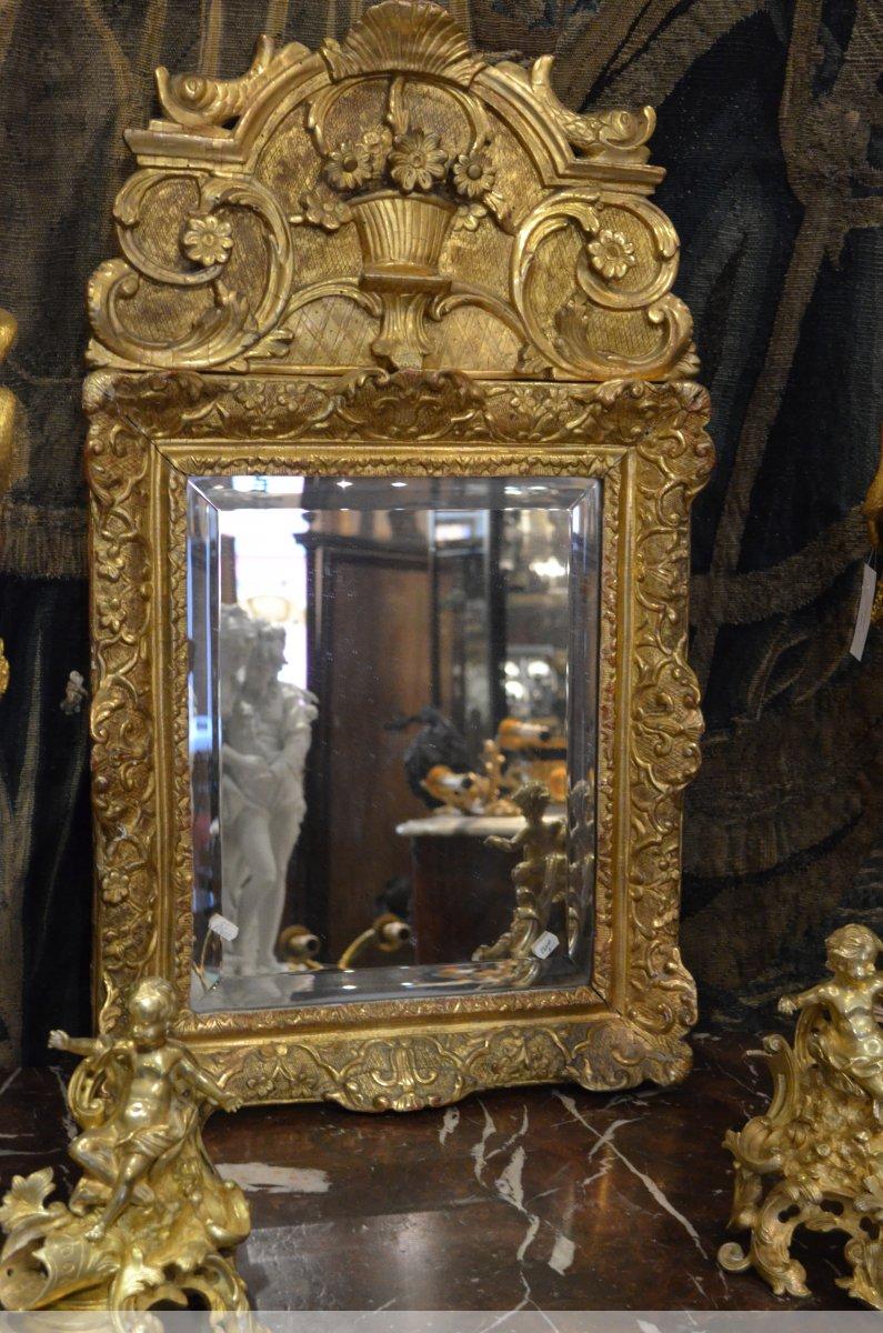miroir en bois dor d 39 poque louis xiv xviiie si cle. Black Bedroom Furniture Sets. Home Design Ideas