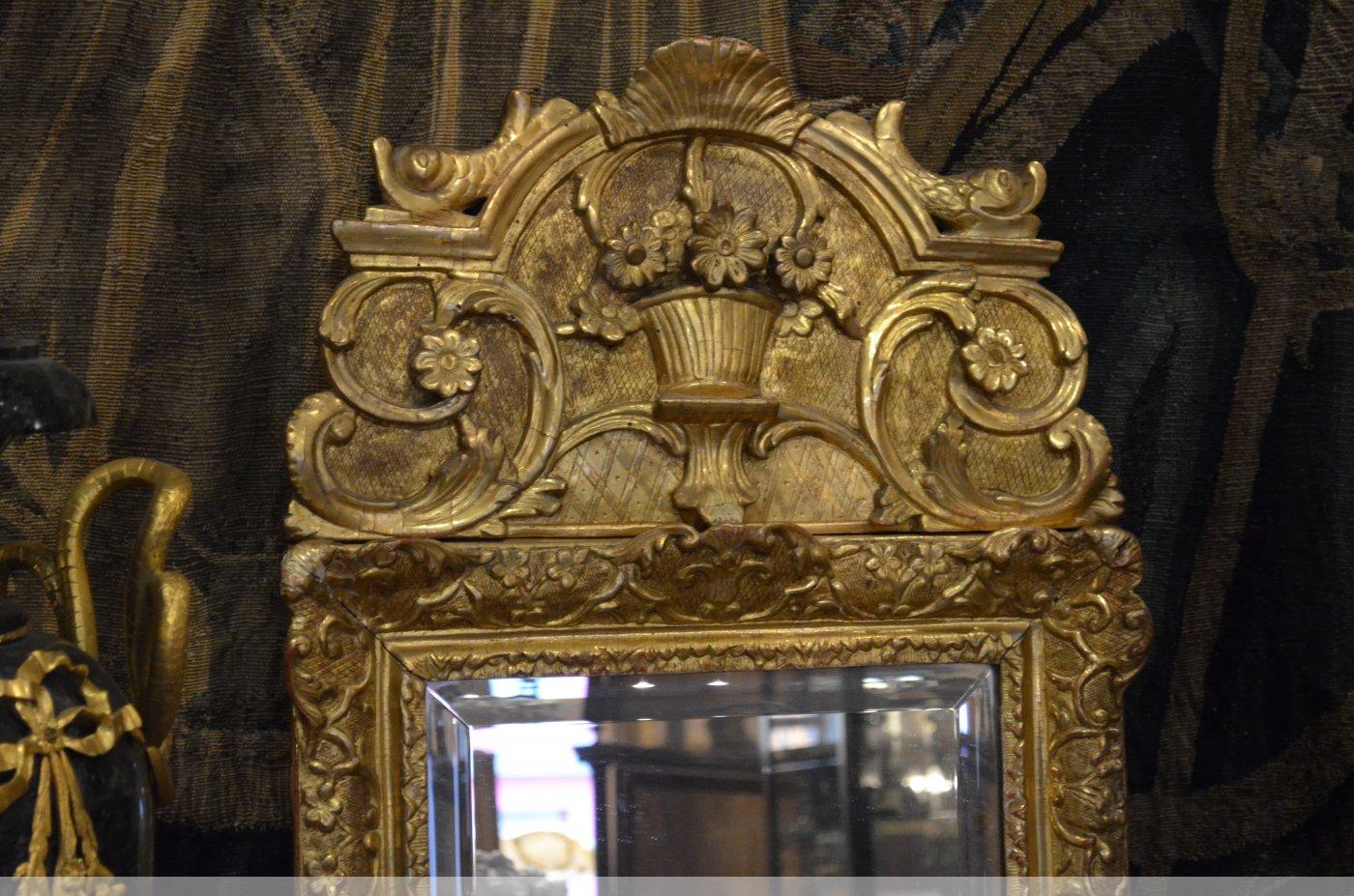 Miroir en bois dor d 39 poque louis xiv xviiie si cle n for Miroir louis xiv