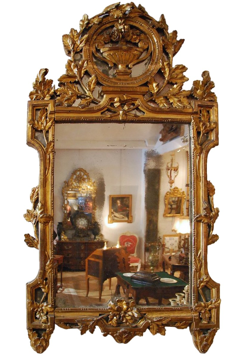 Miroir en bois dor d 39 poque louis xvi xviiie si cle n for Miroir france