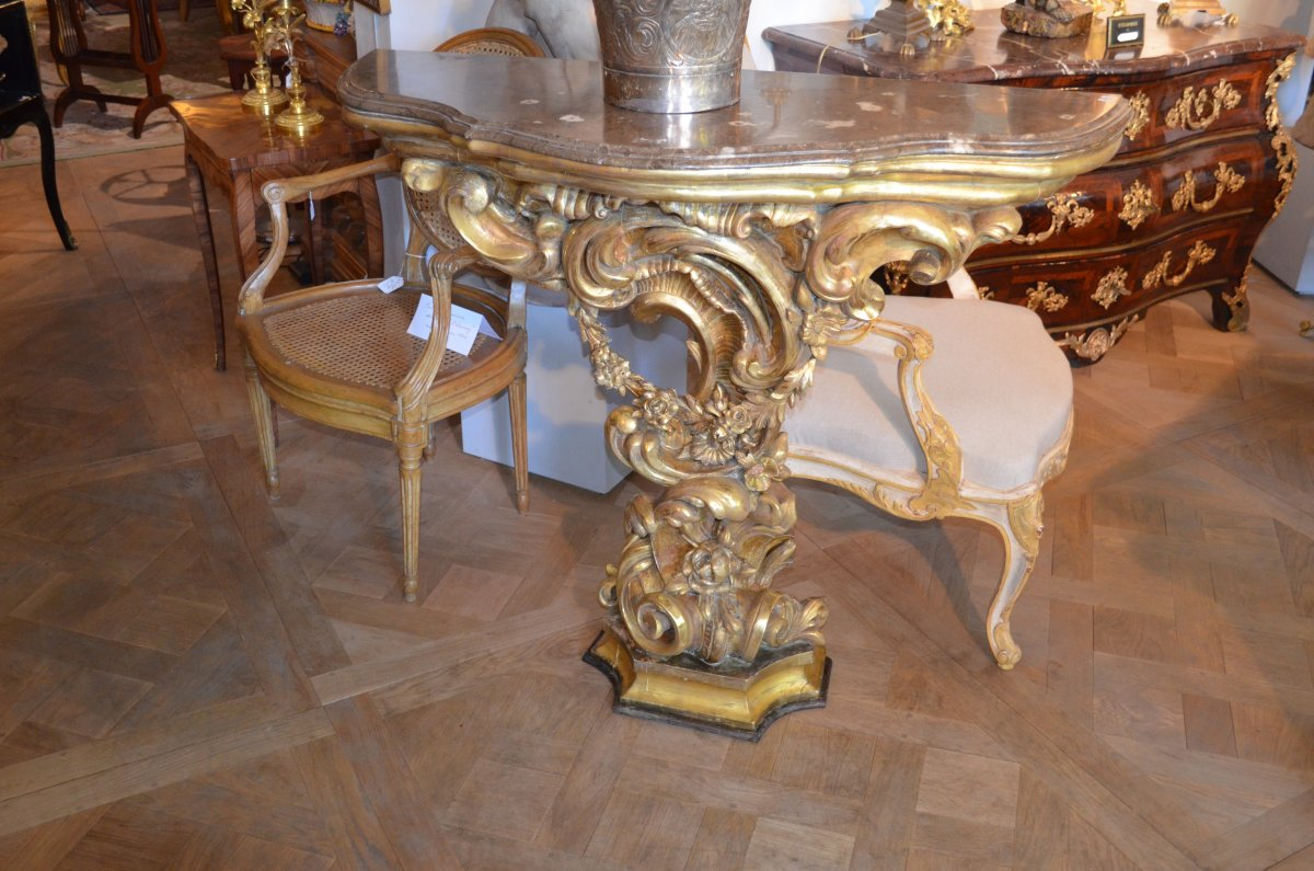 Console en bois dor de style rocaille italie fin xixe for Baroque italien