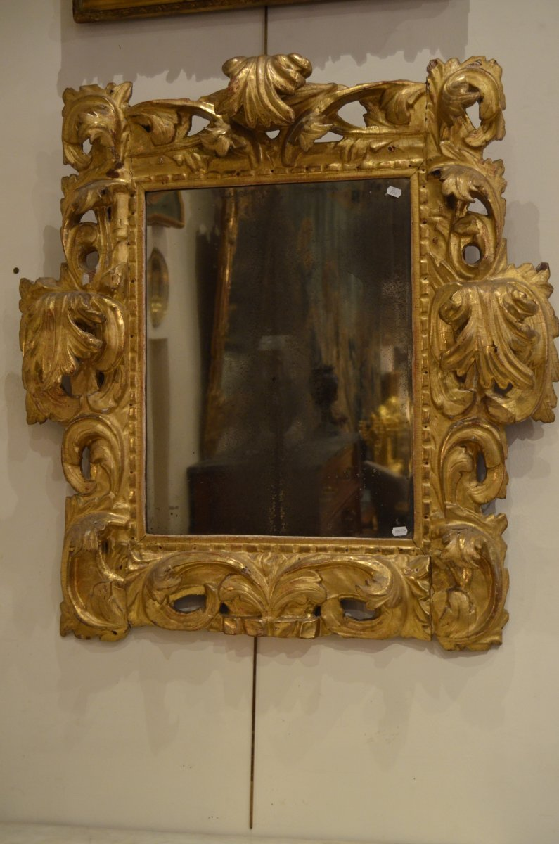 Miroir en bois dor xviiie italien for Miroir xviii