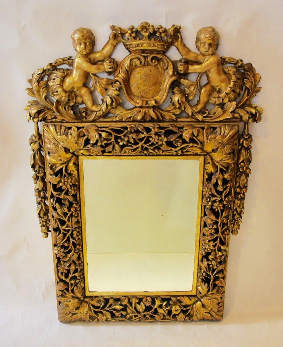 Miroir en bois dor d 39 poque r gence d but du xviiie for Miroir xviii