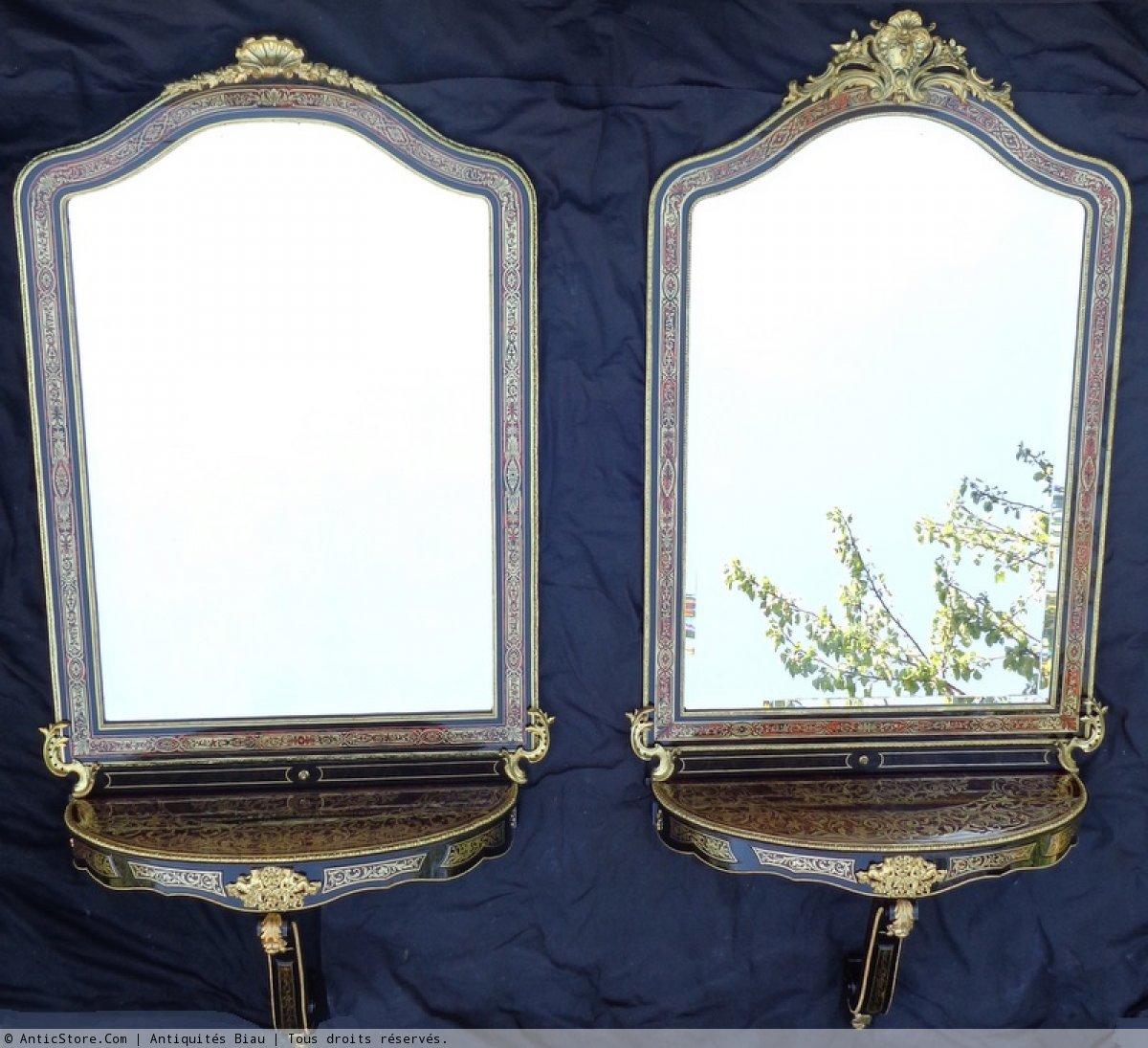 paire de miroirs avec consoles murales d 39 une hauteur de 2 75 m tres anticstore antiquit s. Black Bedroom Furniture Sets. Home Design Ideas
