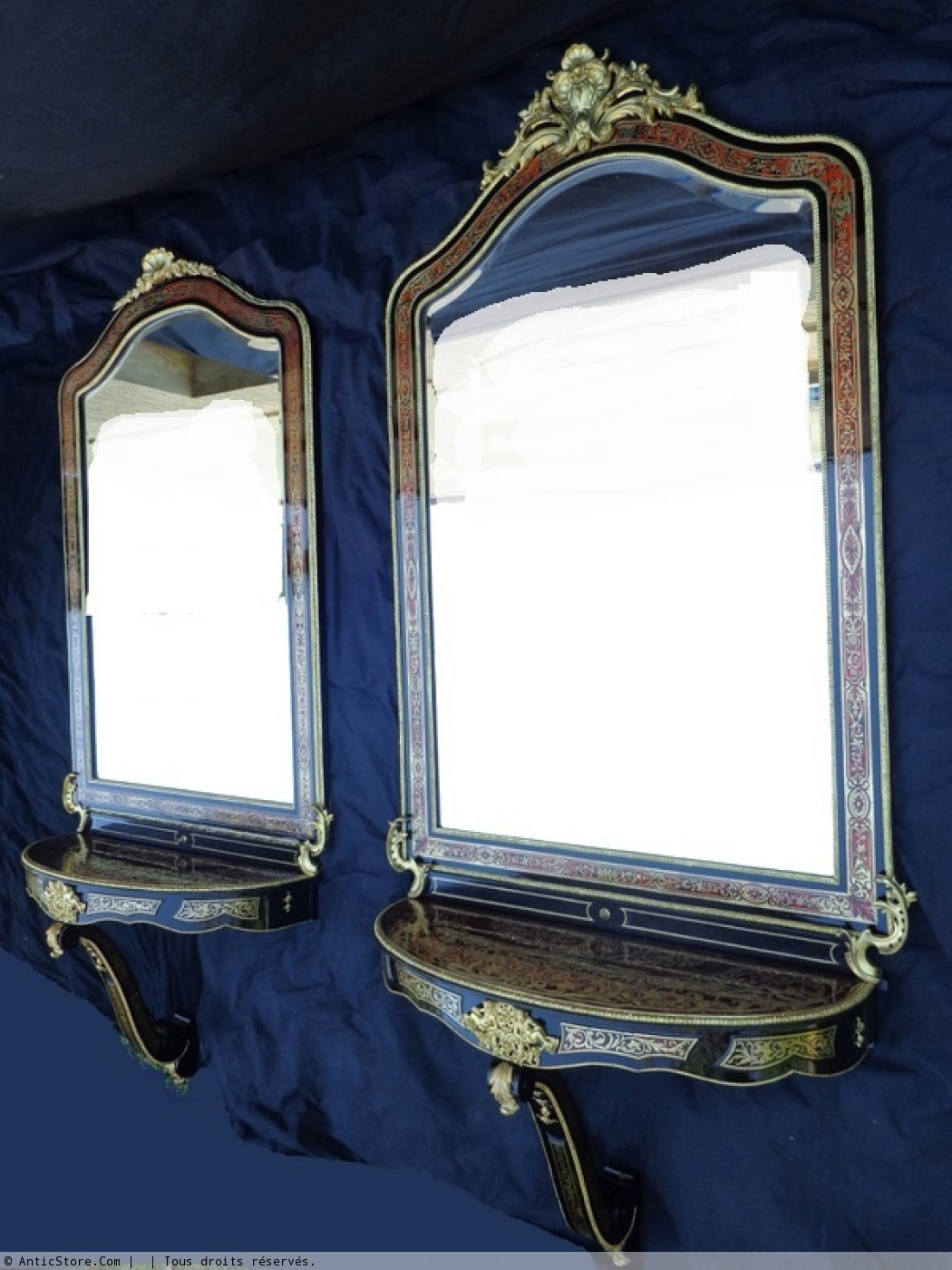 Paire de miroirs avec consoles murales d 39 une hauteur de 2 Miroir 2 metres