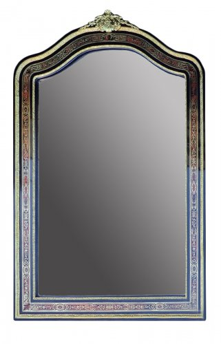 Incredible mirror of 1,90 meters in Boulle marquetry, period Napoleon III