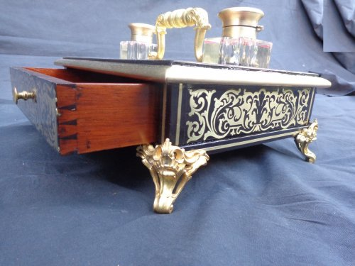 Antiquités - Big inkstand in Boulle style marquetry of napoleon iii period