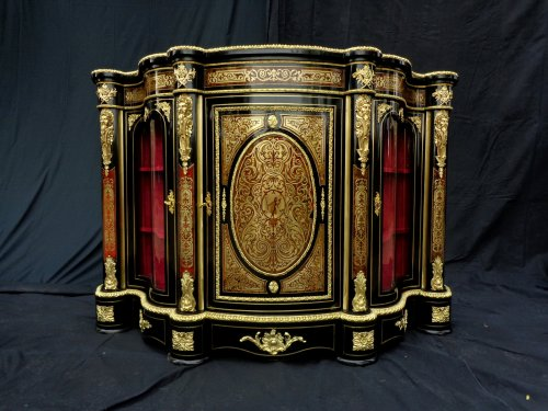 Furniture  - Impressive french credenza 3 doors in marquetry Boulle. period Napoléon III