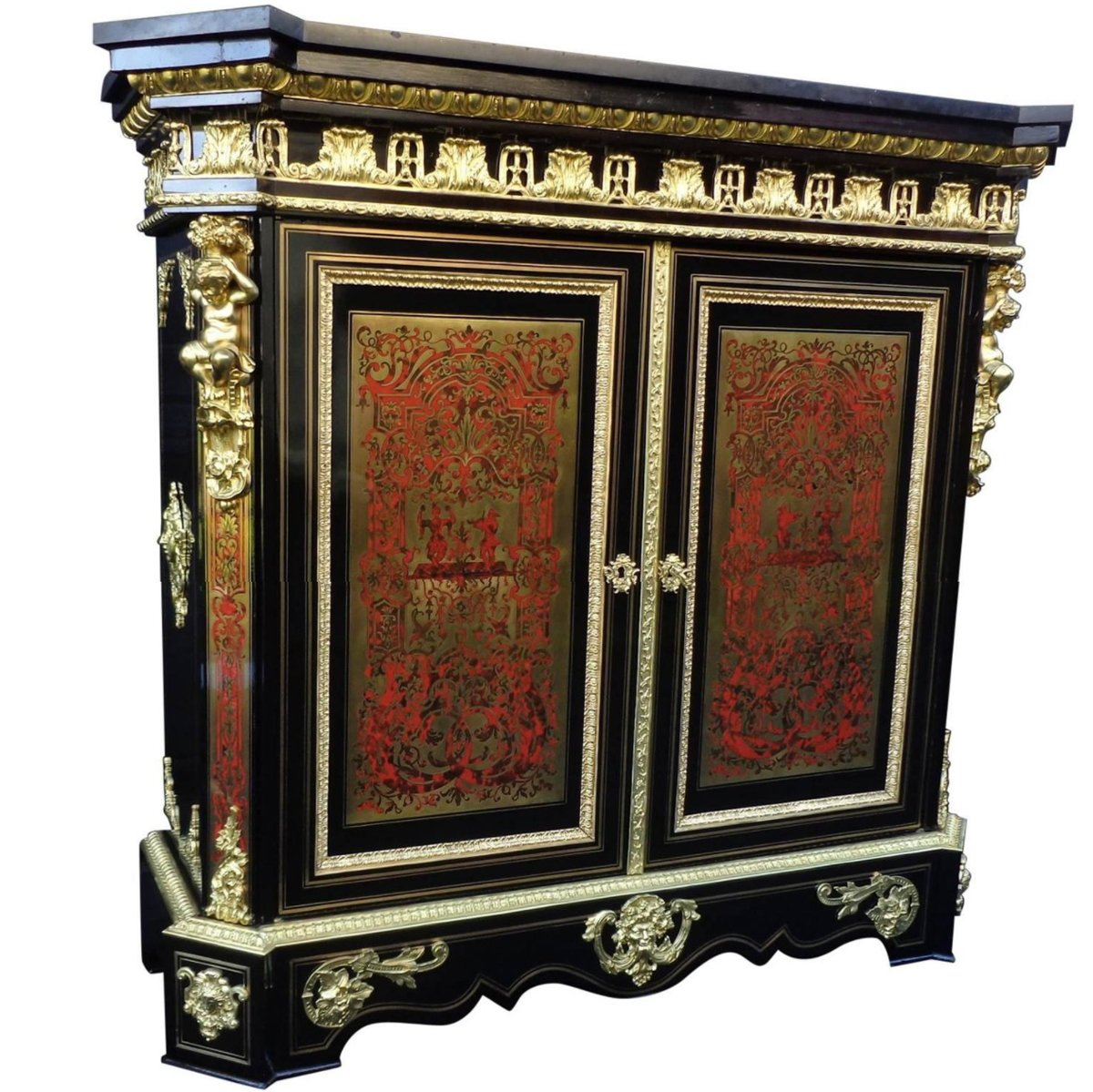 meuble d 39 appui en marqueterie boulle d 39 poque napol on iii xixe si cle. Black Bedroom Furniture Sets. Home Design Ideas