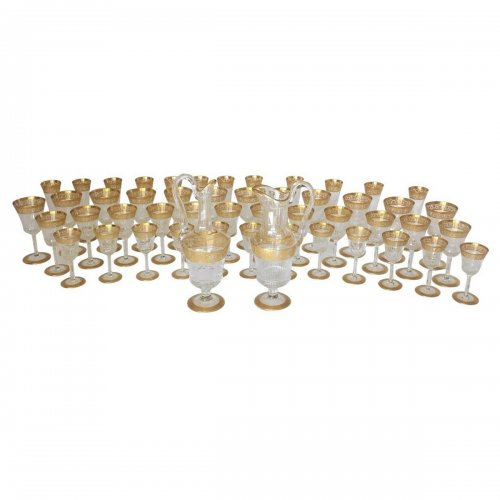 48 glasses and 2 decanters in crystal Saint - Louis Thistle gold model