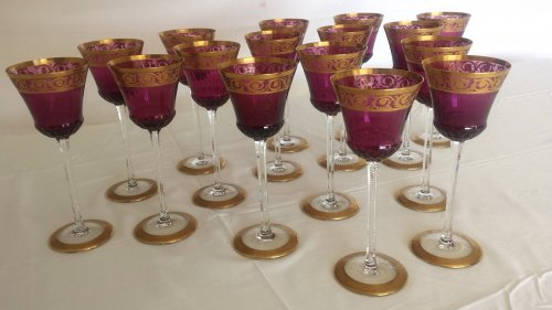 20th century - Glasses Roemers Amethyst in Crystal St-Louis Paris