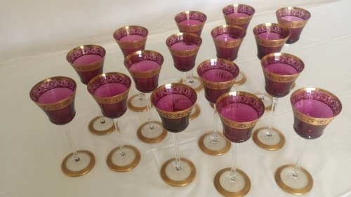 Glasses Roemers Amethyst in Crystal St-Louis Paris - Art nouveau