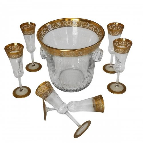 Champagne Bucket with 6 glasses in crystal St - Louis Thistle gold model