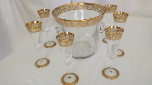 Champagne Bucket with 6 glasses in crystal St - Louis Thistle gold model - Glass & Crystal Style Art nouveau