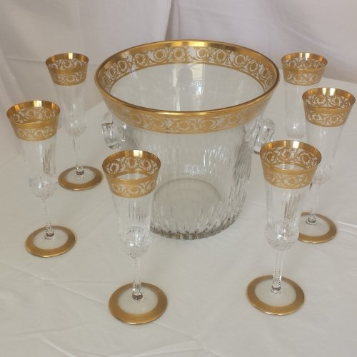 Glass & Crystal  - Champagne Bucket with 6 glasses in crystal St - Louis Thistle gold model