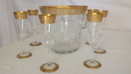 Champagne Bucket with 6 glasses in crystal St - Louis Thistle gold model -