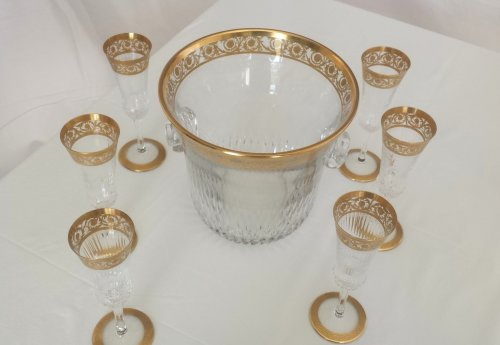 20th century - Champagne Bucket with 6 glasses in crystal St - Louis Thistle gold model