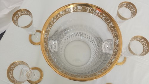 Champagne Bucket with 6 glasses in crystal St - Louis Thistle gold model - Art nouveau
