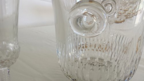 Art nouveau - Champagne Bucket with 6 glasses in crystal St - Louis Thistle gold model
